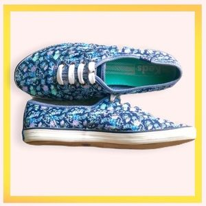 Keds Blue Floral Print sneakers Size 6.5